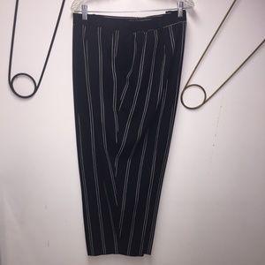 Maggie Barnes black with thin white stripes slacks